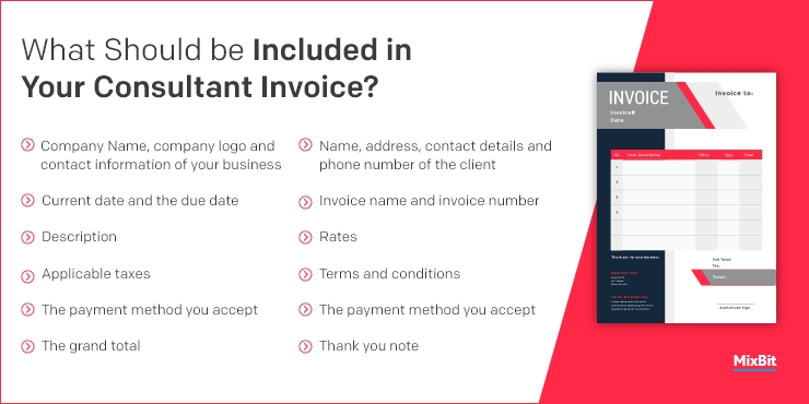 What should be included in your consultant invoice?