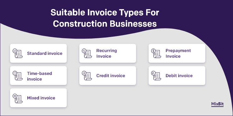 Suitable invoice types for construction businesses